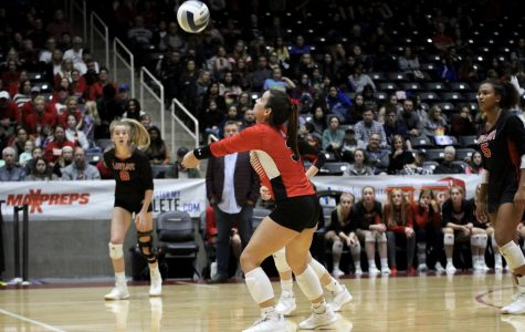 Junior Callie Kemohah bumps the ball. Kemohah is committed to play volleyball at The University of Oklahoma.