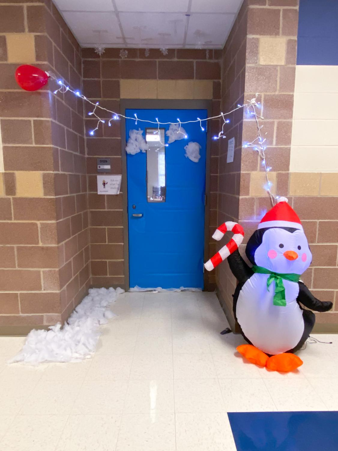"""English teacher Amanda Arriaga's door was themed """"UP"""" and went off from there as her students came up with more and more ideas."""