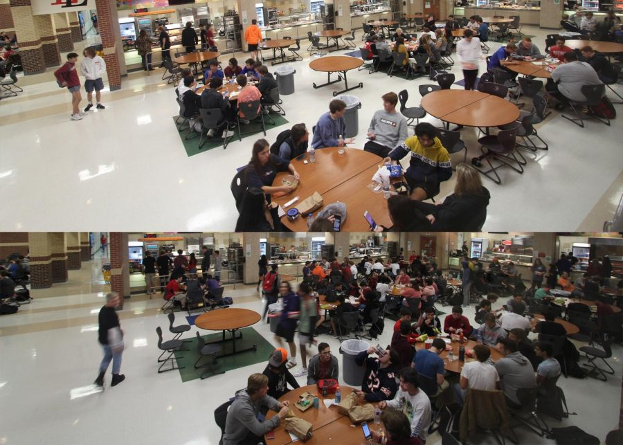 On Thursday, Dec. 5, 18 of the total approximate 60 tables at B lunch remained empty. In comparison, C lunch had 9 empty tables. The counted empty tables did not include the several tables with only one student or any of the outdoor tables.