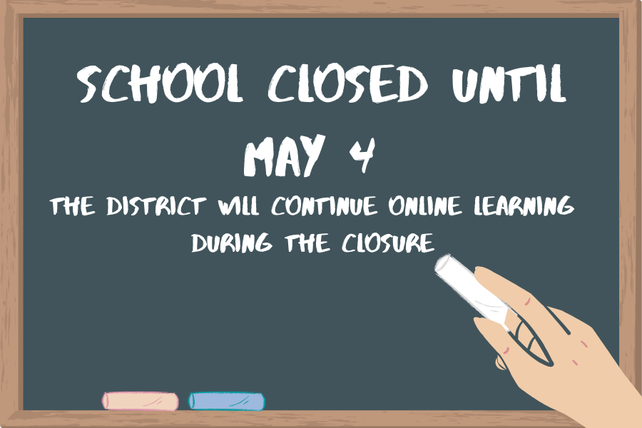 The district announced its facilities will be closed until May 4. Students and faculty will continue working from home and all district event will remain cancelled.