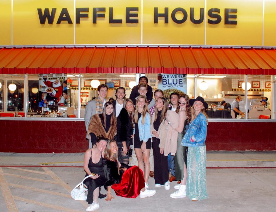For part of their New Years Eve, Sanders and her friends dressed up and ate dinner at Waffle House in Plano.