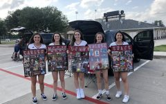 Senior softball players Grace Nguyen, Mackenzie Mitchell, Carlee Schaeffer, and Leah Taylor as well as senior manager Rachel Hoeffner celebrate their senior year as athletes. The softball team drove by giving them gifts and honking to show their support and love for the seniors.