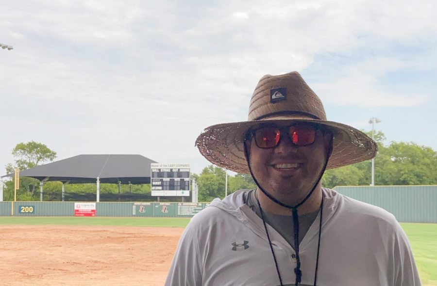 DJ+Lopez+is+the+new+head+coach+of+the+Lady+Leopards+softball+program.+He+moved+from+El+Paso+over+the+summer+to+join+the+team.