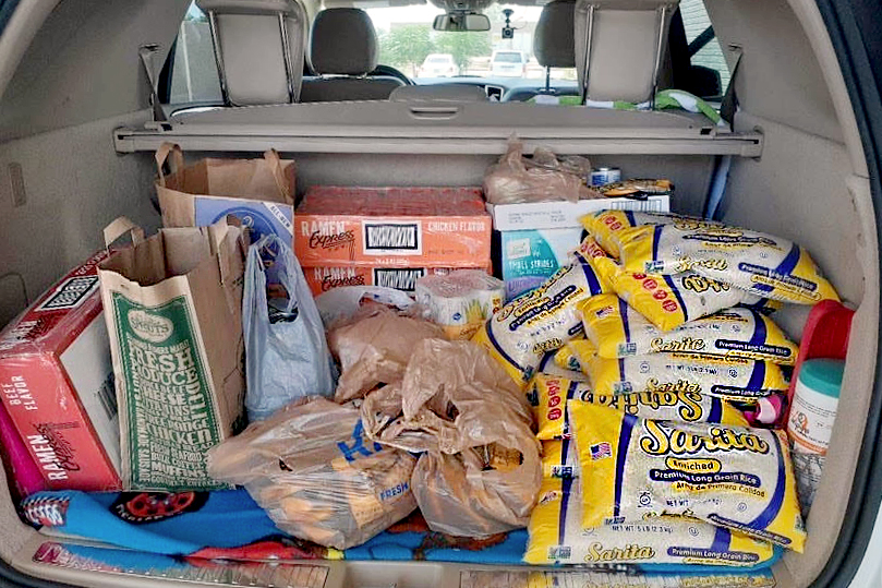 Senior Stone Scalf collected canned food and other food products for the second round of donations for Trusted World.