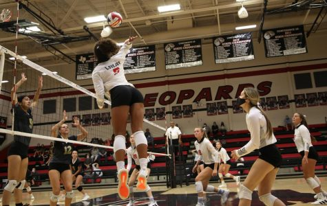 Senior Cecily Bramschriber spikes the ball to win a point in the first match. The Leopards won the first match 25-6.