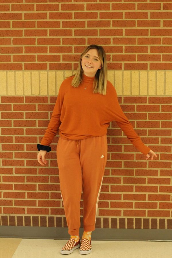 Sophomore Rylan McKnight wears all orange. This is the first year the high school did monochrome as a theme.