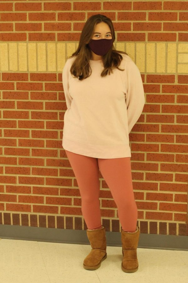 Sophomore Kesia Martin wears peach tones for Monochrome Monday. Tuesday's theme is jersey day.