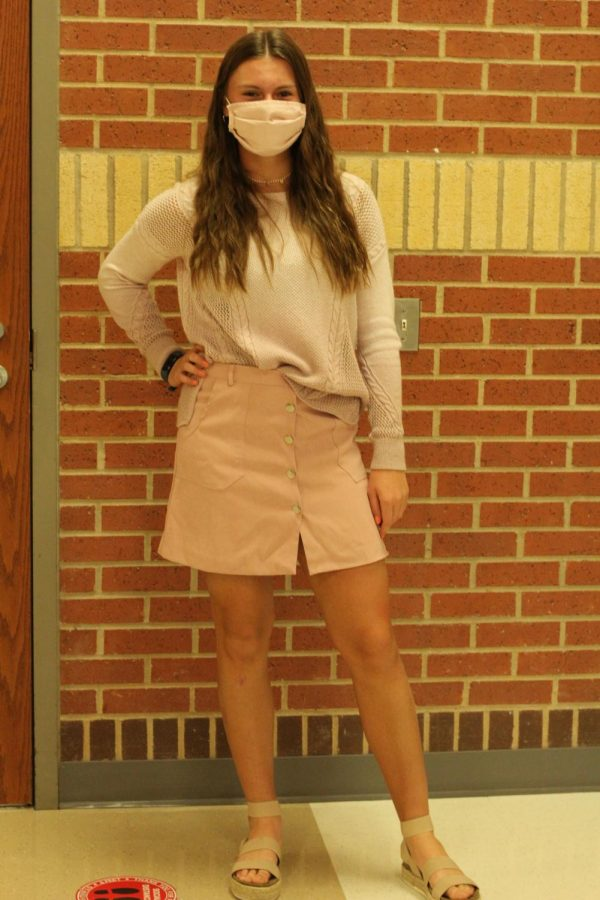 Freshmen Savannah Spors wears pink tones for the first day of homecoming week. Spors is celebrating her first year of homecoming as a high schooler.