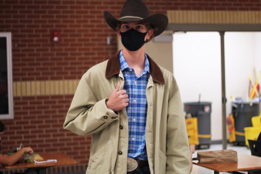 Sophomore Fletcher Boots wears a full western outfit for Wednesday's dress up day. This dress up day was followed by an after school community pep rally.