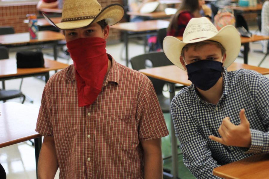 Junior Joel Walenciak and sophomore Clays Dierks wore cowboy attire for this theme day. The high school has done this theme in previous years.