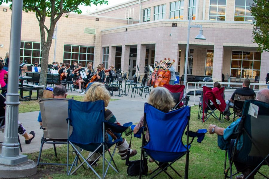 A group of grandparents watches the orchestra perform. The concert was hosted Wednesday night after the school day.