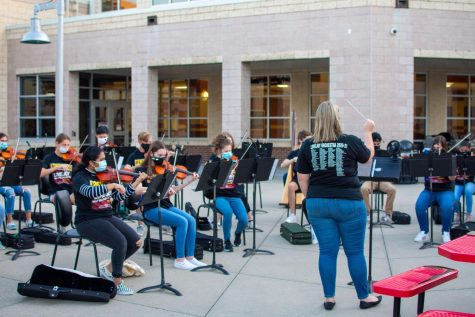 Orchestra performed an outdoor concert for their families to showcase what they worked on this semester. They are led by orchestra directors Jennifer Vanhook and Mary Winkler.