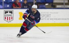 Chase Yoder plays in the USHL rink. The USHL is the top junior hockey league in the United States.
