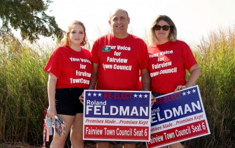 Roland Feldman stands with his daughter, senior Ariel Feldman, and wife Fiana Feldman. Feldman is running to be re-elected for Fairview Town Council.