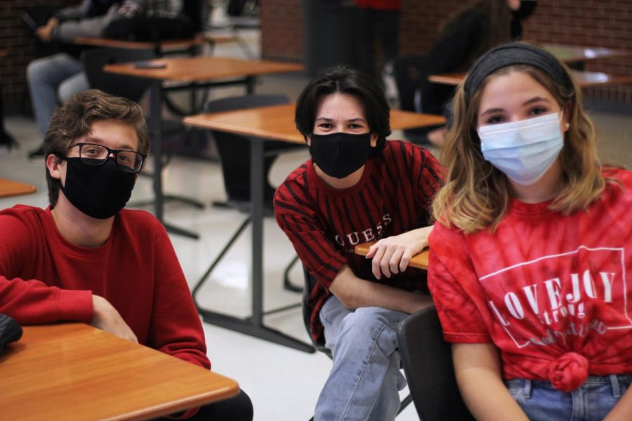 Juniors Peyton Nicholson, Ethan Jones, and Avery Archer all wear red. Nicholson and Jones are both a part of theatre.