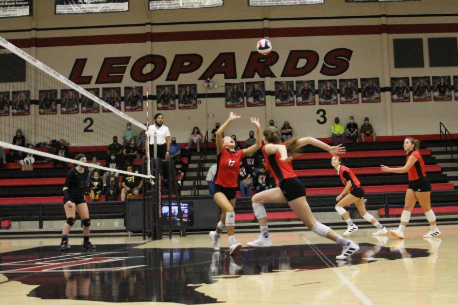 Junior Rosemary Archer sets the ball preparing for the return. The Leopards win the point after a volly following the return.