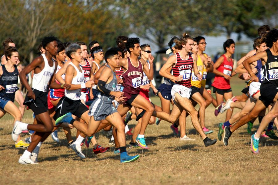 Senior Trevor Malik leads the school's runners at the beginning of the race. Malik finished in first out of the school's runners and in eighth overall.