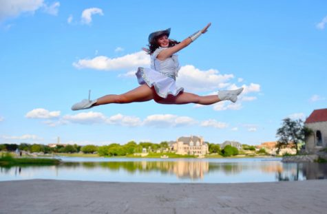 Senior Majestics Captain Sydney Spors does a leap. Spors is also the HOSA president.