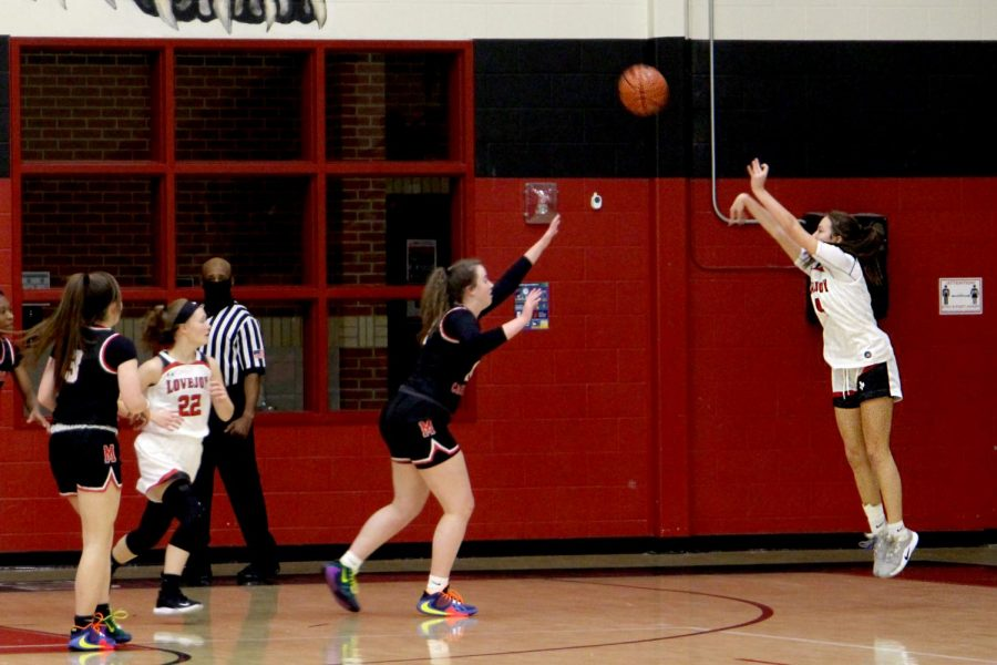 Sophomore Sam Basson attempts a three-point shot in the second quarter. This is Basson's second year on Varsity.