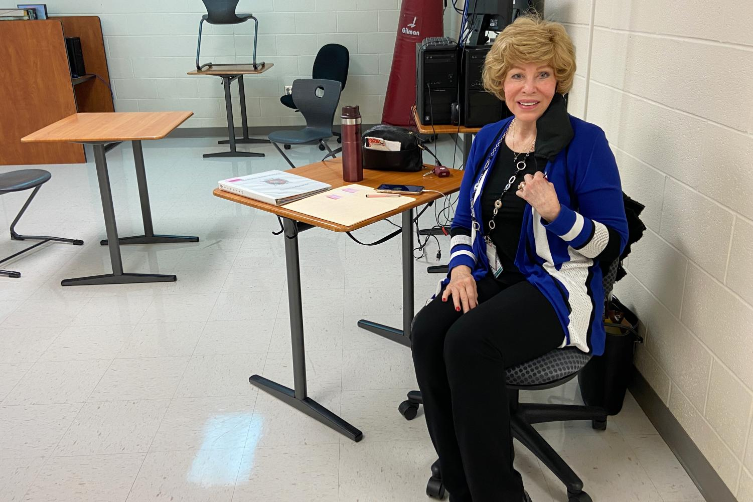 Elvie Trevino sits in one of her substitute classes. She has been a substitute teacher for five years and has won two awards.