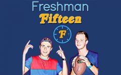 Benjamin Nopper and Collin Bass pose for their Freshman Fifteen's logo found on Spotify. Nopper and Bass uploaded their first episode on Jan. 11.
