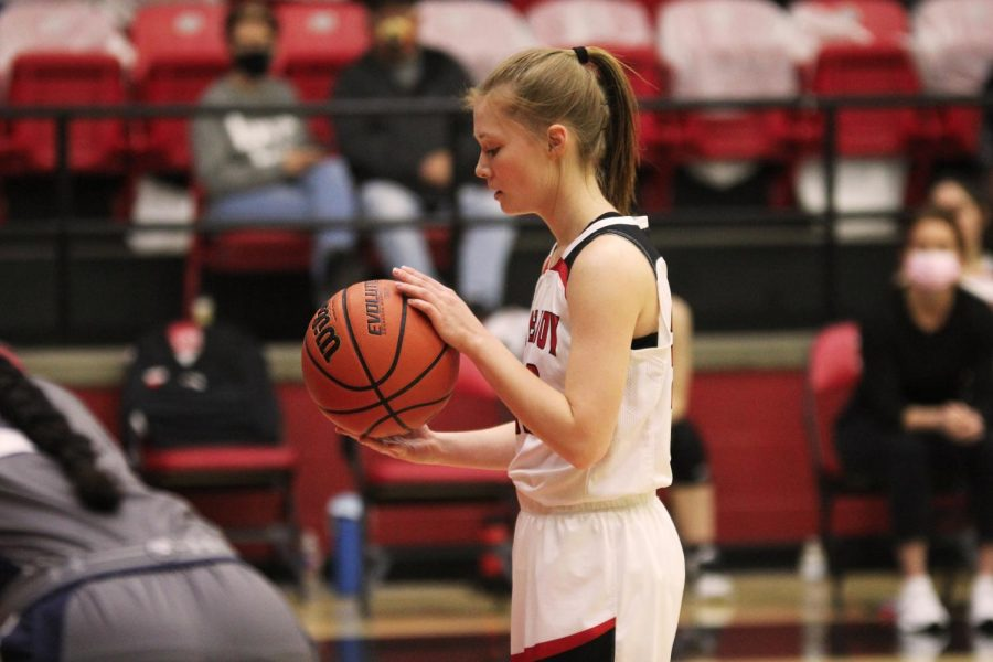 Junior Sydney Chapman focuses before taking one of her free throws. Chapman had two assists for the Leopards.