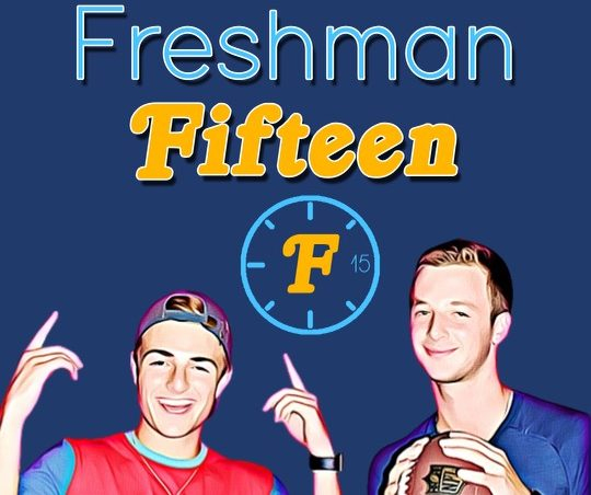 Benjamin Nopper and Collin Bass pose for their Freshman Fifteens logo found on Spotify. Nopper and Bass uploaded their first episode on Jan. 11.
