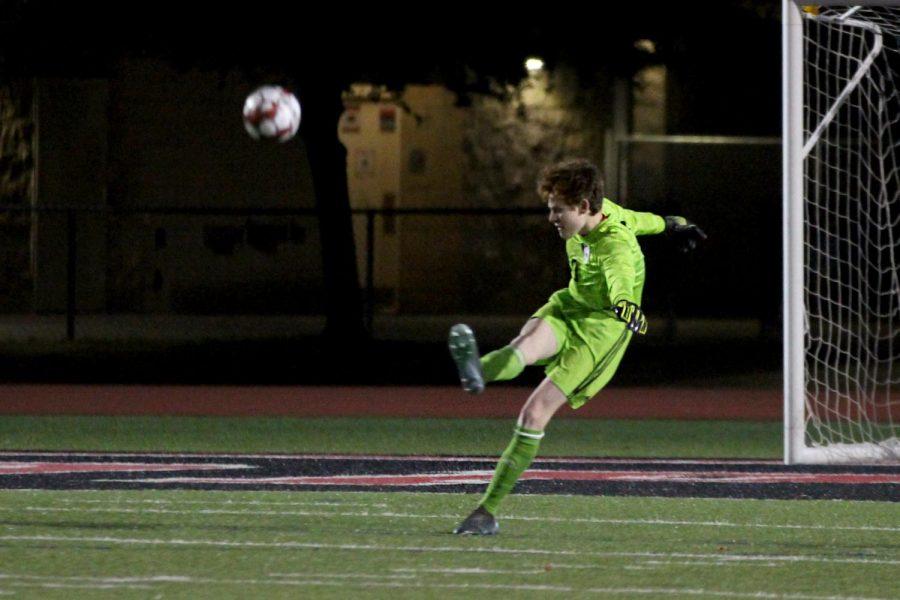 Senior goalkeeper no. 0 Sammy Merrick does a goal kick. Merrick got three saves during the second half.