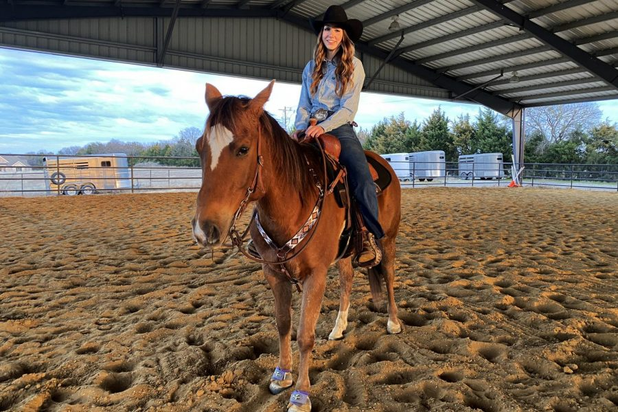 Junior+Molly+Kenny+sits+on+her+newest+horse%2C+Kidd.+Kidd+is+Mollys+personal+horse+while+her+second+horse%2C+Nike%2C+is+used+to+give+horseback+riding+lessons+to+kids.