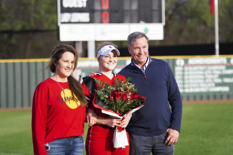 Senior Holly Massey receives recognition on senior night. Massey plays as a first baseman for the softball team.