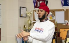 Senior Tajvir Singh practices his speech in preparation for the Lucas Rotary Contest. Singh placed first in the competition.