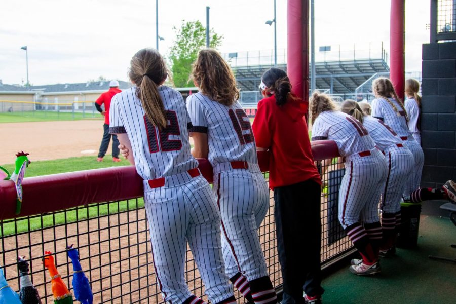 The softball team watches their teammate batting. The softball team is currently first in district.