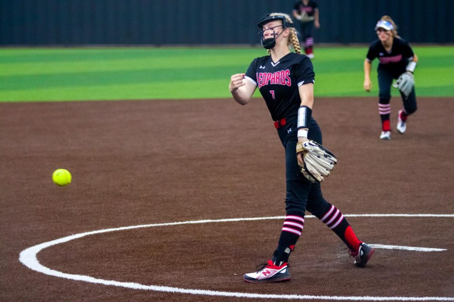 Sophomore pitcher no. 7 Jade Owens pitches to a Wakeland hitter. Owens only allowed the Wolverines one run at this game.