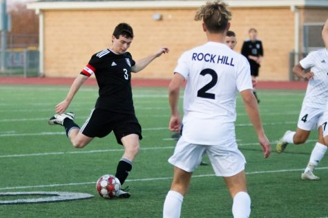 Senior forward no. 3 Michael Myers kicks the ball. Myers will be playing for UT Tyler in the fall.
