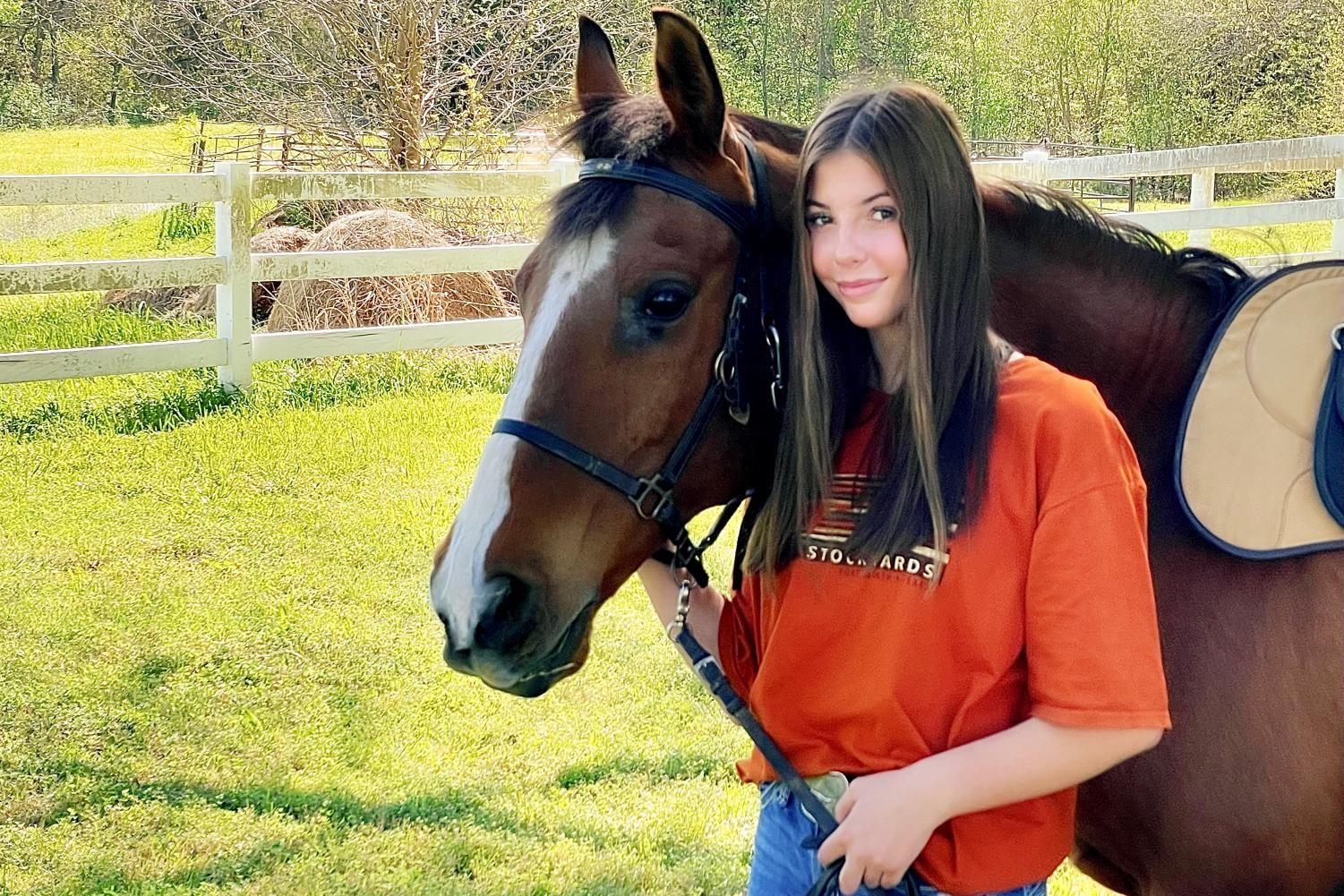 Sophmore Gracelyn Maxfield loves riding and taking care of horses. Maxfield is currently working towards the purchase of her own horse.