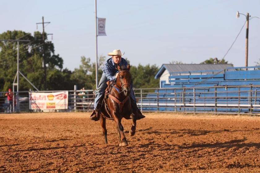 Sophomore Mitchell Bradshaw competes at the Sheriffs Posse Franklin County Youth Rodeo. Bradshaw has been horseback riding for 14 years since he was three.