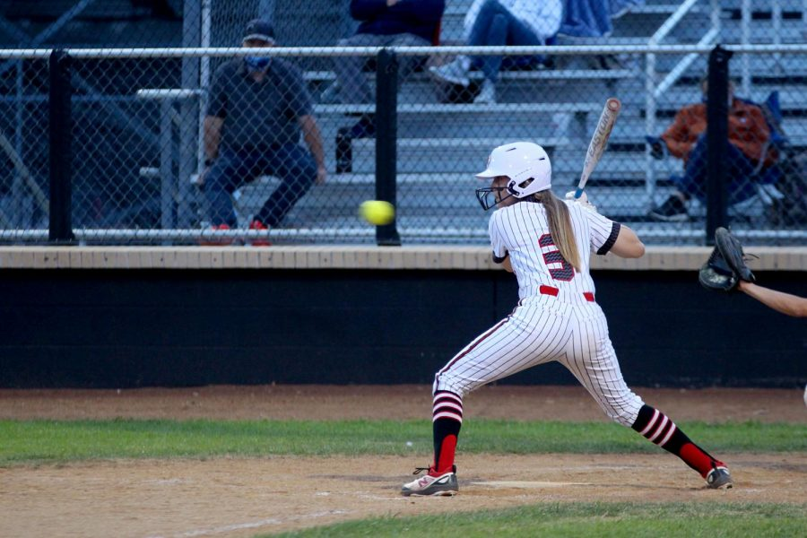 Sophomore catcher no. 3 Sydney Bardwell prepares to hit the ball. Bardwell scored one run during the game.