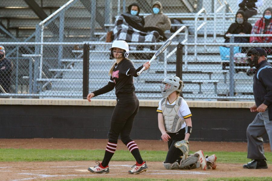Freshmen right fielder no. 17 Kennadi Deboer goes to bat. Deboer bunts the ball allowing the Leopards to make a run.
