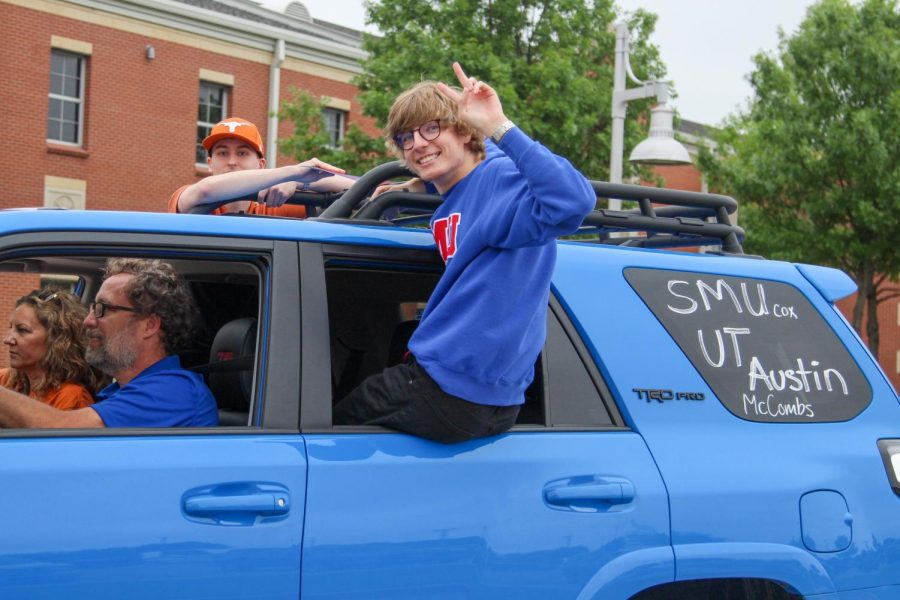 Seniors Braden and Ryan Schlimme ride in the parade. Schlimme will be attending Southern Methodist University to study business.