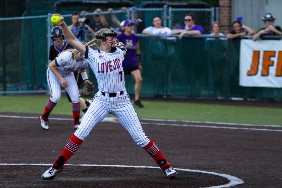 Sophomore pitcher no. 7 Jade Owens throws to a Wildcat hitter. Owens pitched four innings of the game.