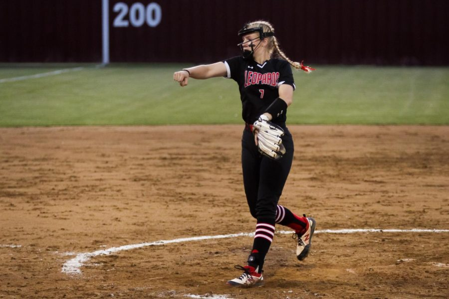 Sophomore pitcher no. 7 Jade Owens pitches to a Coyote hitter. The Leopards will play the Wildcats in the next round of playoffs.