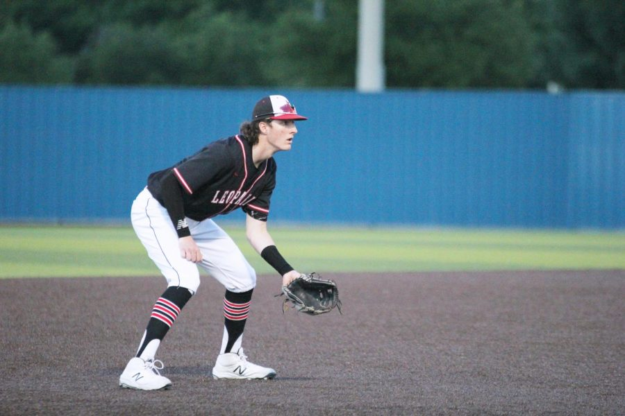 Senior third baseman no. 15 Dylan Collins gets ready to catch a ground ball from a Hillcrest hitter. The Leopards will be playing at McKinney North field for the next round of playoffs.