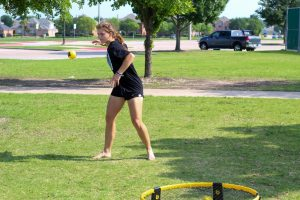 Senior Julia Brochu is in the top 50 in the state for spike ball. Julia attends tournaments on a regular basis.
