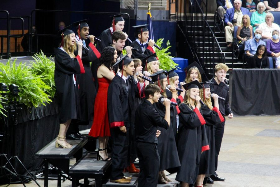 The A Cappella choir group sings a medley at the beginning of the ceremony. Soloists included graduate Tessa Blasko and Audrey Hightower, and junior Ian York.