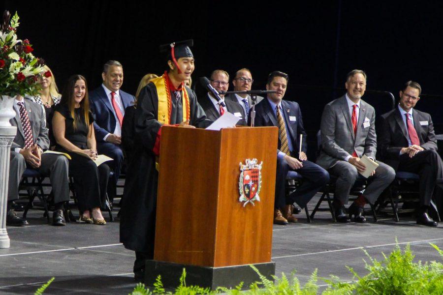 Valedictorian Mark Wen raps at end of his speech. Wen's speech followed salutatorians: Kaya Czyz and Ryan Schlimme.