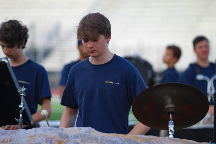 Junior John Sinocola plays the xylophone. The band will be playing at the next home game this Friday.