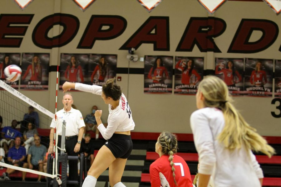 Junior middle hitter no.12  Hannah Gonzalez hits the ball down. The Leopards will be playing at home on Sept. 3.