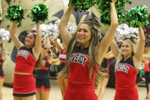 Senior cheer captain Ainsley Abernathy cheers to the fight song. Abernathy is one of the three captains with seniors Chaney Roberts and Viviana Yerkes.