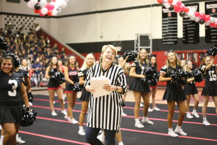 Superintendent Katie Cordell was the referee for the musical chairs game. This is Cordells first year as the superintendent