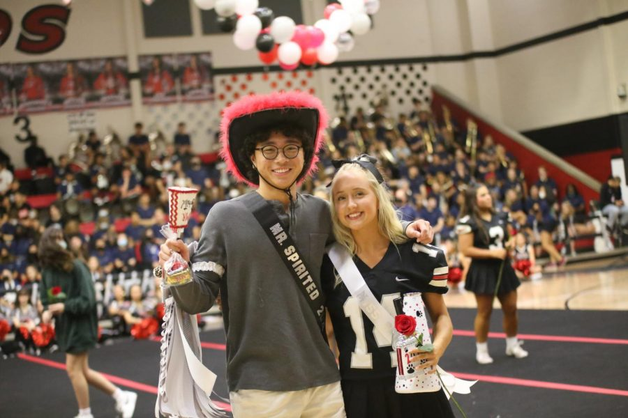 Seniors Derek Dang and Taylor Kate Pickett won Mr. and Miss. Spirited. Dang was on the Dirty Drumline last year and Pickett started the #makeschoolspiritcoolagain trend.